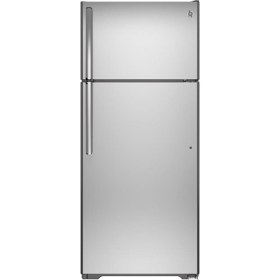 Shop Ge 17 5 Cu Ft Top Freezer Refrigerator Stainless