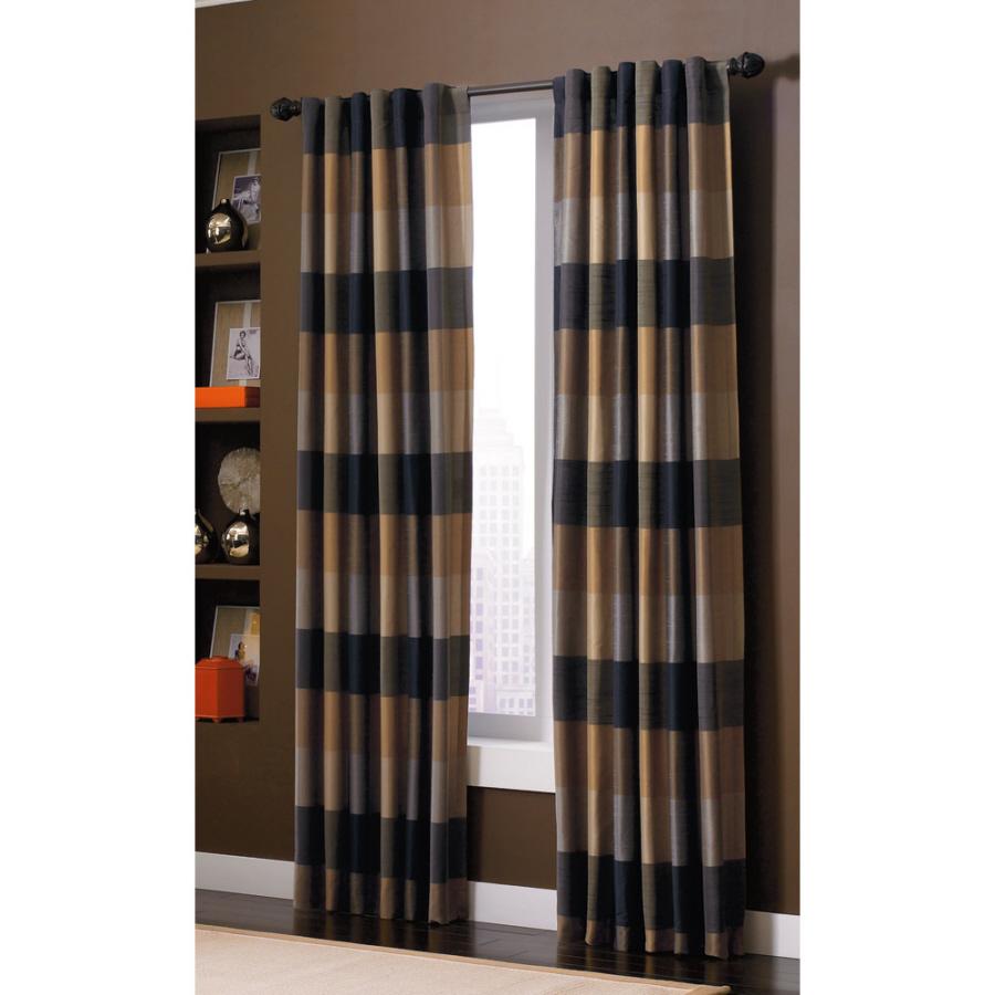 Shop allen + roth Emilia 84-in L Plaid Onyx Back Tab Window Window ...