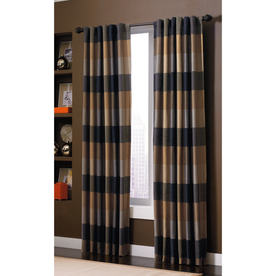 allen + roth Emilia 84-in L Plaid Onyx Back Tab Window Curtain Panel