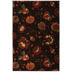 Mohawk Home Eason Dark Brown 63-in x 94-in Rectangular Brown/Tan Floral Area Rug