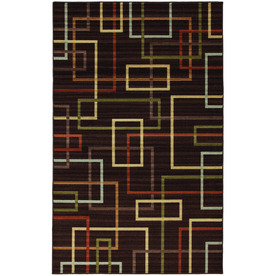 Mohawk Home Subway Lines Brown 5-ft x 8-ft Rectangular Tan Transitional Area Rug