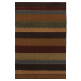 Mohawk Home Albany Stripe Multi 5-ft 3-in x 7-ft 10-in Rectangular Tan Transitional Area Rug