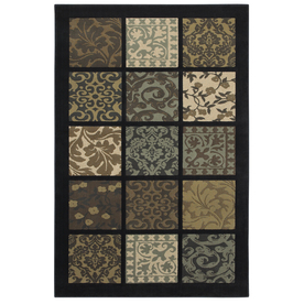 Mohawk Home Abbey Patchwork Navy 5-ft 3-in x 7-ft 10-in Rectangular Black Transitional Area Rug