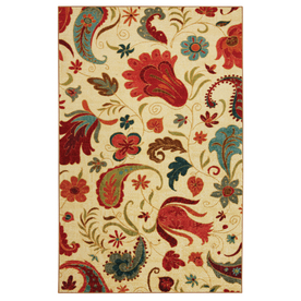 Mohawk Home Select Strata Tropical Acres 96-in x 120-in Rectangular Cream/Beige/Almond Transitional Area Rug