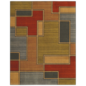 Mohawk Home Annapolis Lines Multi 5-ft x 8-ft Rectangular Blue Transitional Area Rug