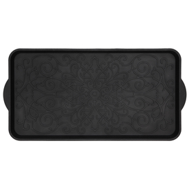 Mohawk Home Black Rectangular Door Mat (Common: 15-in x 26-in; Actual: 14.5-in x 29.2-in)