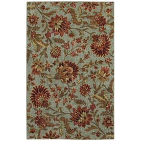 Mohawk Home Avon Floral Blue 8-ft x 10-ft Rectangular Blue Floral Area Rug