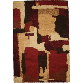 Mohawk Home Retro Circles 8-ft x 11-ft Rectangular Red Transitional Area Rug