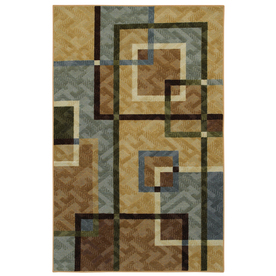 Mohawk Home Cosmopolitan Lines Blue Multicolor Rectangular Indoor Tufted Area Rug (Common: 5 x 8; Actual: 60-in W x 96-in L x 0.5-ft Dia)