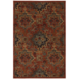 allen + roth Elverson Coral 63-in x 94-in Rectangular Orange/Peach/Apricot Transitional Area Rug