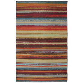 Mohawk Home Avenue Stripe Rectangular Orange Transitional Outdoor Tufted Area Rug (Common: 5-ft x 8-ft; Actual: 5-ft x 8-ft)