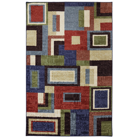 Mohawk Home Multi Frame Rectangular Blue Geometric Tufted Area Rug (Common: 8-ft x 10-ft; Actual: 8-ft x 10-ft)