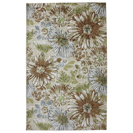 Mohawk Home Sunburst Floral Rectangular Cream Floral Tufted Area Rug (Common: 5-ft x 8-ft; Actual: 5-ft x 8-ft)
