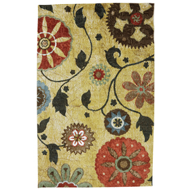 Mohawk Home Yellow Medallion Rectangular Yellow Floral Tufted Area Rug (Common: 5-ft x 8-ft; Actual: 5-ft x 8-ft)