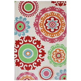 Mohawk Home Pindall Rectangular Cream Floral Outdoor Woven Area Rug (Common: 5-ft x 8-ft; Actual: 5.25-ft x 7.83-ft)