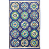 Mohawk Home Clover Leaf Rectangular Blue Floral Outdoor Woven Area Rug (Common: 8-ft x 10-ft; Actual: 96-in x 120-in)
