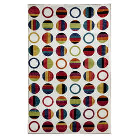Mohawk Home Striped Dots Rectangular White Geometric Tufted Area Rug (Common: 8-ft x 10-ft; Actual: 8-ft x 10-ft)