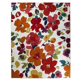 Mohawk Home Bright Floral White Rectangular Indoor Tufted Area Rug (Common: 5 x 8; Actual: 60-in W x 96-in L x 0.5-ft Dia)