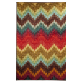 Mohawk Home Painted Zig Zag Red Rectangular Indoor Tufted Area Rug (Common: 8 x 10; Actual: 96-in W x 120-in L x 0.5-ft Dia)
