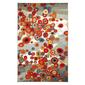 Mohawk Home Tossed Floral Gray Rectangular Indoor Tufted Area Rug (Common: 5 x 8; Actual: 60-in W x 96-in L x 0.5-ft Dia)