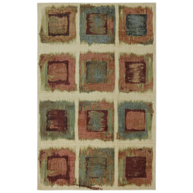 Mohawk Home Rusty Boxes Brown Rectangular Indoor Tufted Area Rug (Common: 8 x 10; Actual: 96-in W x 120-in L x 0.5-ft Dia)