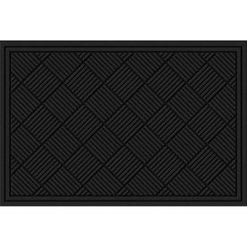 Blue Hawk 24&#034; x 36&#034; Recycled Rubber Tuscany Black Door Mat