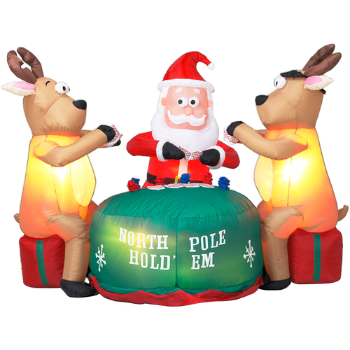Zoomed: Gemmy 5-1/2' Inflatable Santa and Deer Playing Poker