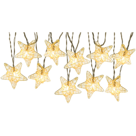 Gemmy 8.53-ft Gold Mini Bulb Metal Stars Patio String Lights