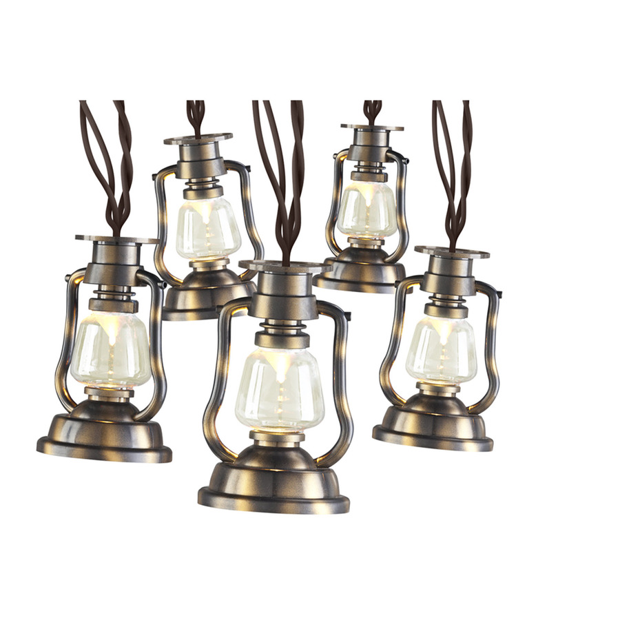 Backyard String Lights Lowes :  Gemmy 124ft Brown PlugIn LED Lantern String Lights at Lowescom