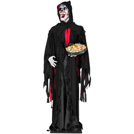 Gemmy 74.4-in Lighted Musical Animatronic Lifesize Reaper Indoor Halloween Decoration