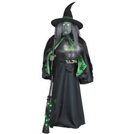 Gemmy 5-1/2-ft Musical Lifesize Witch with Cauldron Indoor Halloween Holiday Decoration