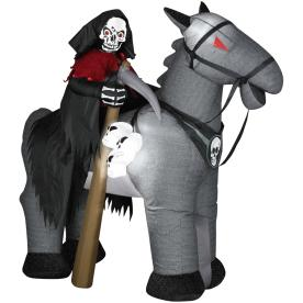 Gemmy 7-1/2-ft Animatronic Inflatable Halloween Reaper on Horse