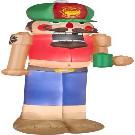 Holiday Living 7.51-ft Inflatable Fabric Red Neck Christmas Nutcracker