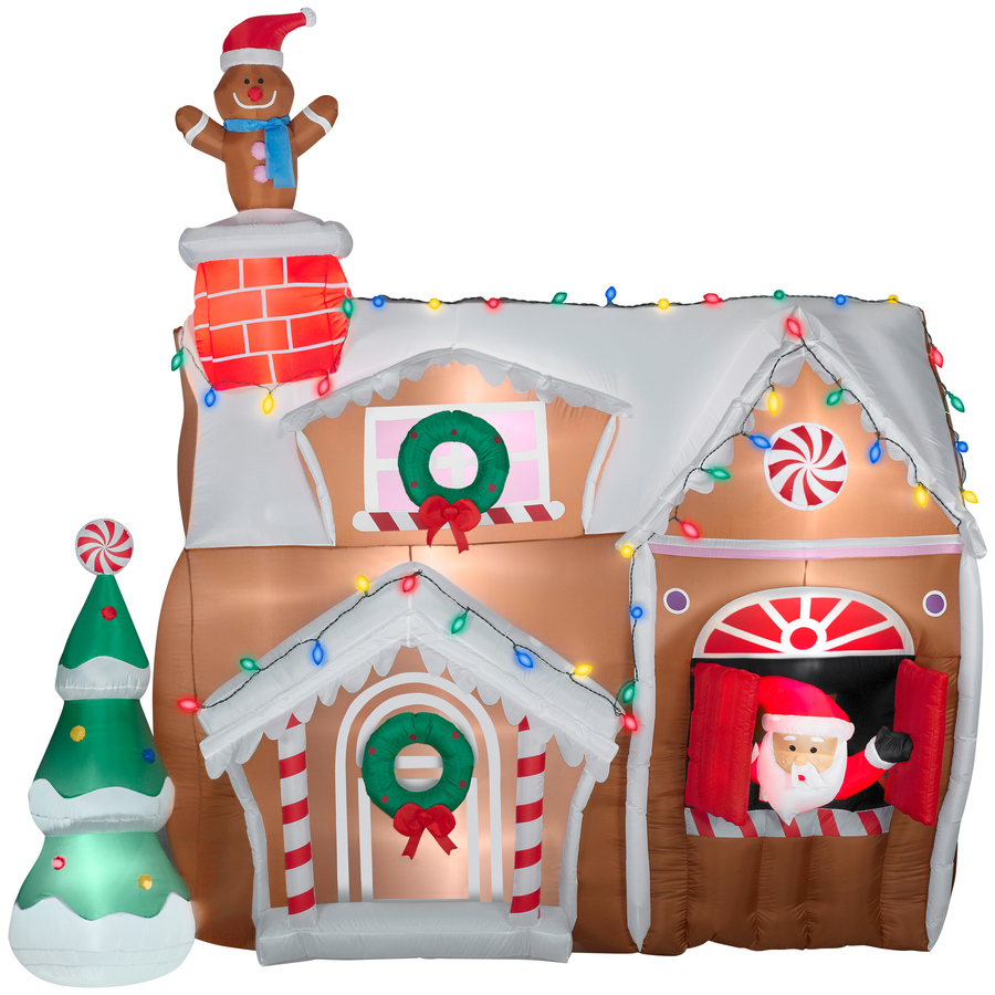 Gingerbread house animated airblown christmas inflatable for Outer decoration of house