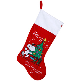 Gemmy 20.8-in Red Polyester Snoopy Christmas Stocking