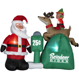 Holiday Living 5.24-ft Inflatable Fabric Santa with Elf on Christmas Reindeer