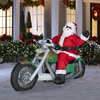 Holiday Living 4.82-ft Inflatable Fabric Christmas Santa on Chopper
