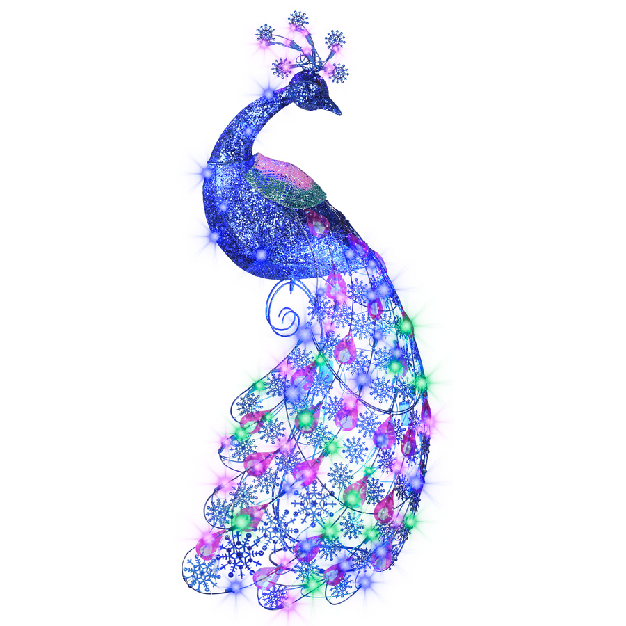 New sparkle blue light peacock christmas display decor for 57in led lighted peacock outdoor christmas decoration