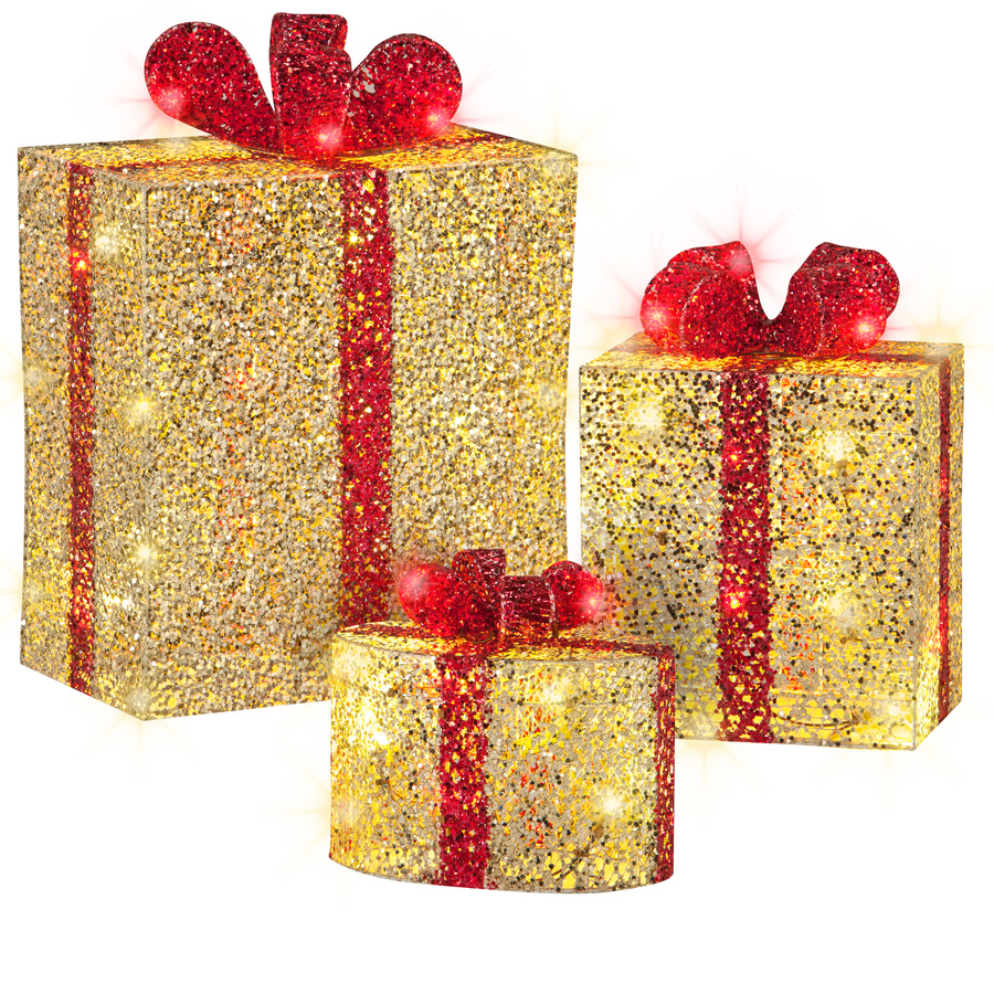 Shop Gemmy 3 Piece Gift Boxes Lighted Outdoor