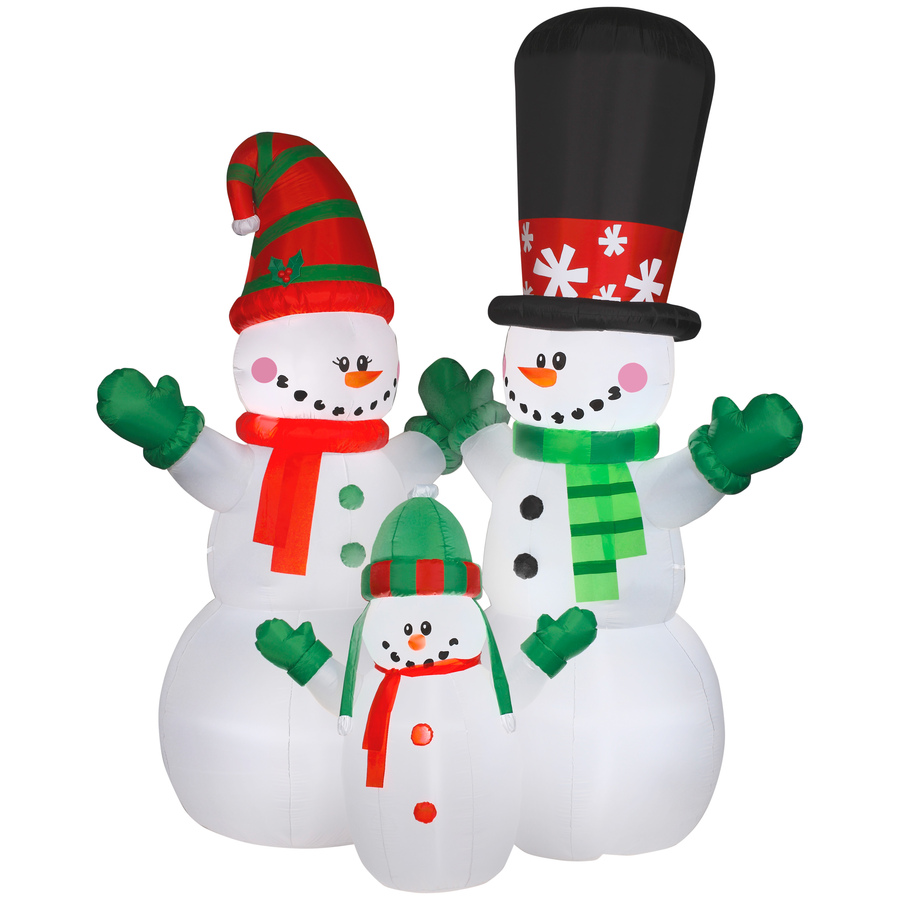 Shop Holiday Living 12-ft Internal Light Snowman Family Christmas ...