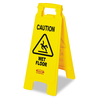 Rubbermaid Commercial Products Caution Wet Floor Sign, Plastic 26-In H x 11-In W x 1.5-In D, Bright Yellow