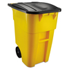 Rubbermaid Commercial Products Brute 50-Gallon Yellow Plastic Commercial Outdoor Wheeled Trash Can with Lid