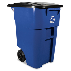 Brute 50-Gallon Blue Outdoor Wheeled Garbage Can with Lid at Lowes.com