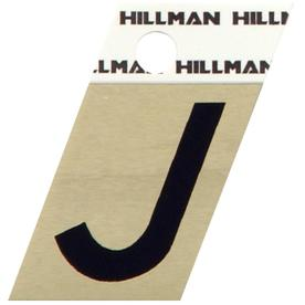 "The Hillman Group 1-1/2"" Black and Gold Aluminum Angle Cut Letter J"