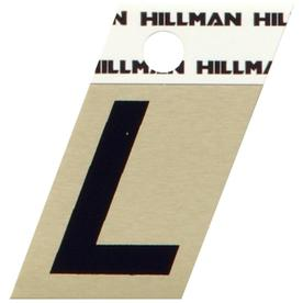 "The Hillman Group 1-1/2"" Black and Gold Aluminum Angle Cut Letter L"