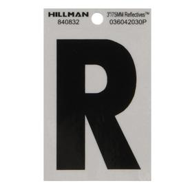 The Hillman Group 3-in Black and Silver Reflective House Letter R