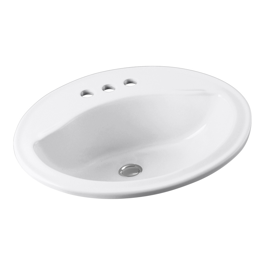 shop sterling sanibel white drop in oval bathroom sink