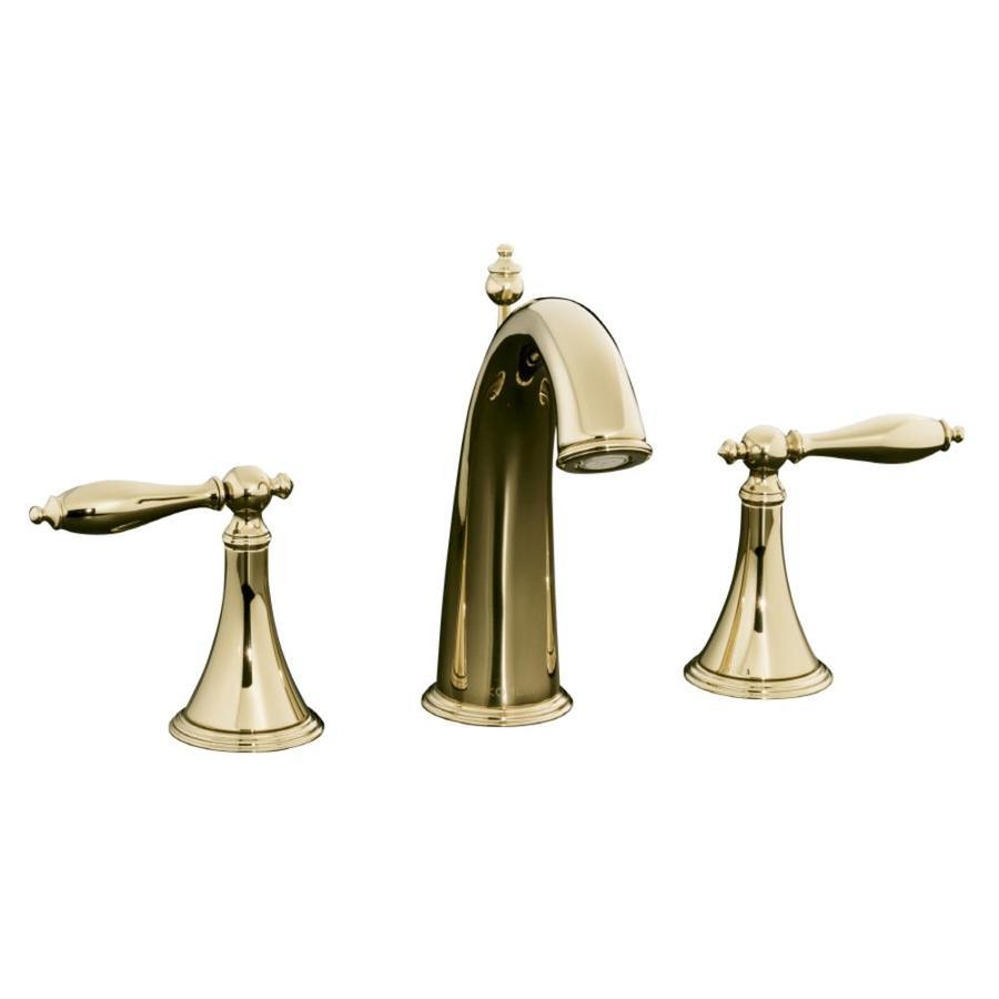 ... Gold 2-Handle Widespread WaterSense Bathroom Sink Faucet (Drain