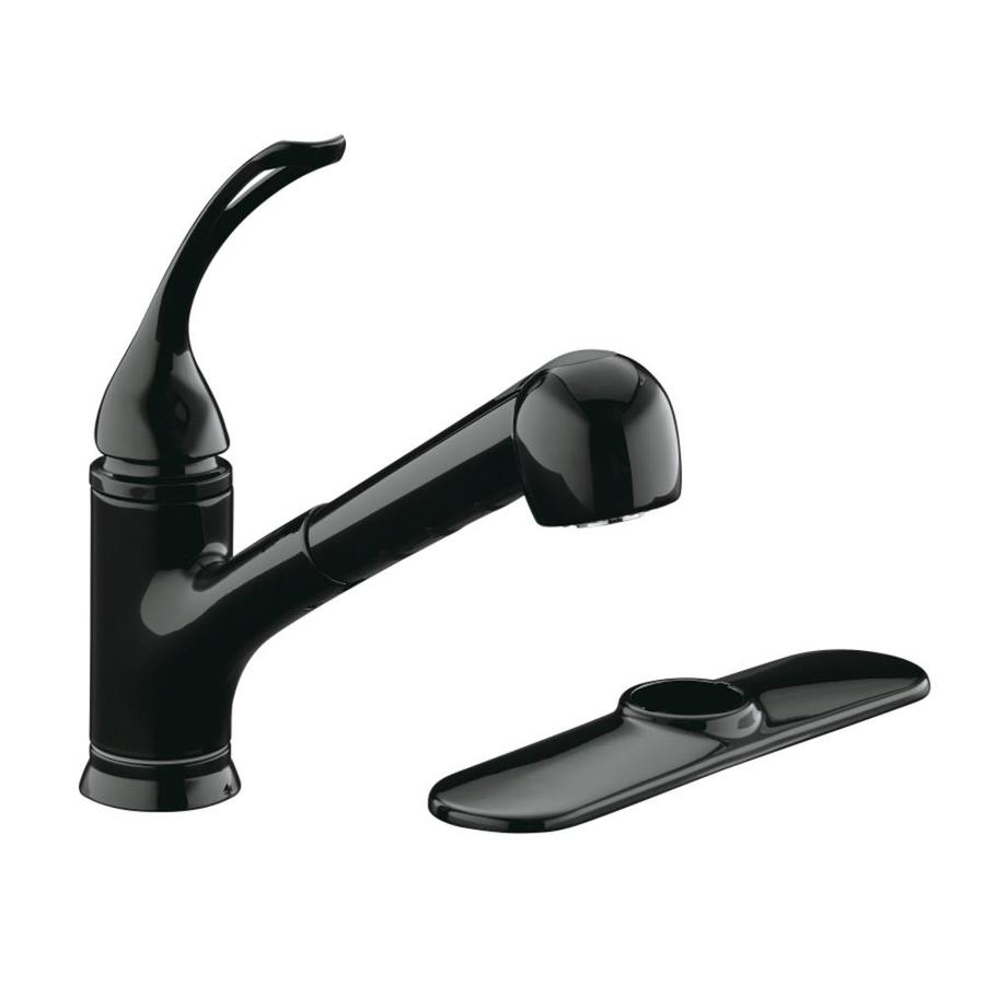 Shop Kohler Coralais Black Black 1 Handle Pull Out Kitchen Faucet At