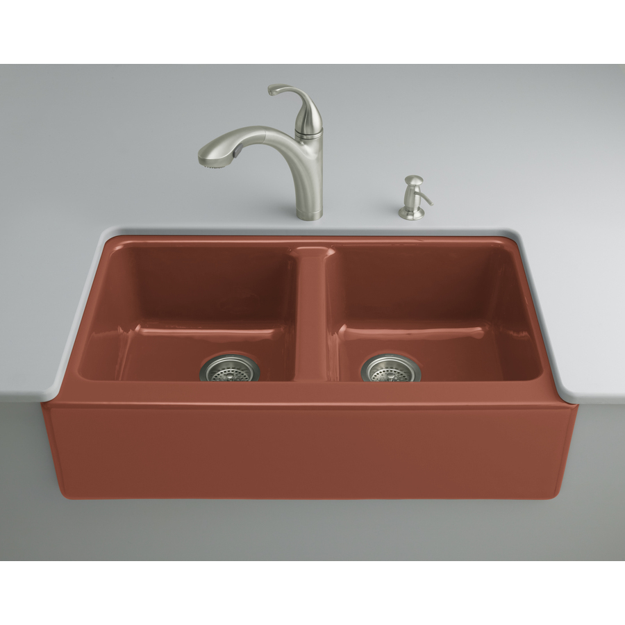 Red Kitchen Sink : ... Red Double-Basin Cast Iron Undermount Kitchen Sink at Lowes.com